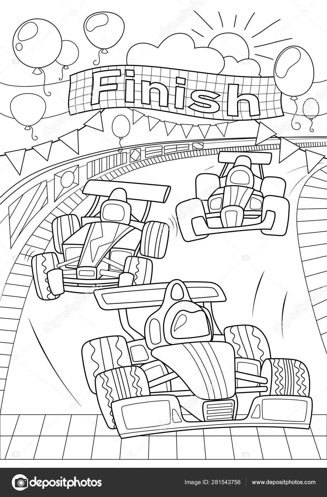 Car Race Coloring Page Formula 1 Black Line Vector Illustration