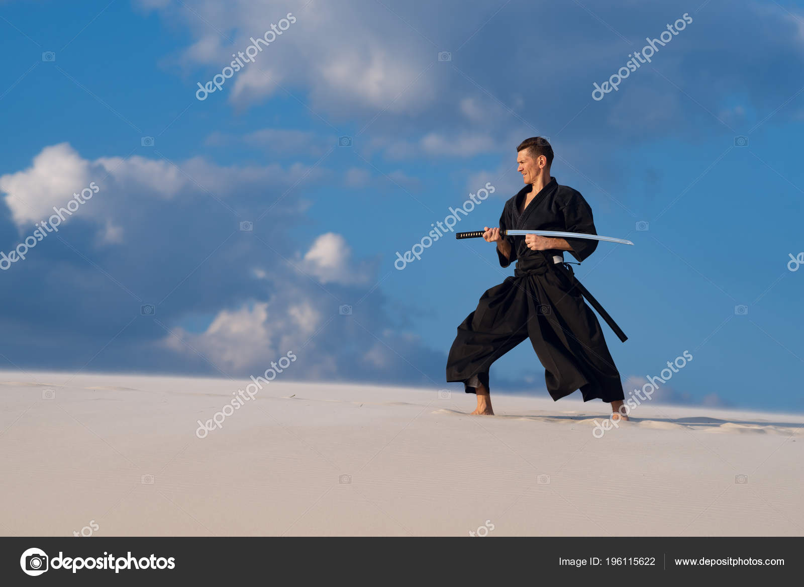 Concentrated Man Traditional Japanese Clothes Sword Katana