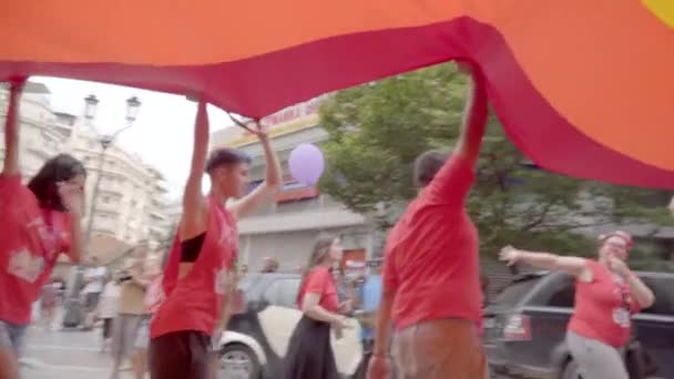 Thessaloniki,Greece,June 2018 : People are celebrating pride day with huge rainbow flag.