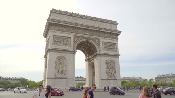 Paris,France,June 2018 : Arc de Triomphe on the Avenue des Champs-elysees with city traffic