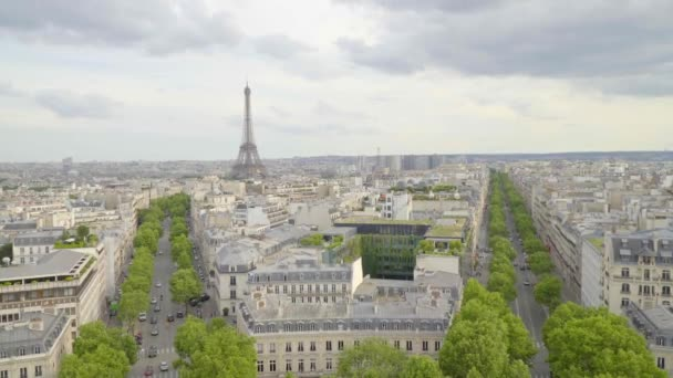 Paris,France,June 2018 : Paris cityscape. View from Arc de Triomphe and Eiffel Tower. Daylight scene in summer with blue sky.
