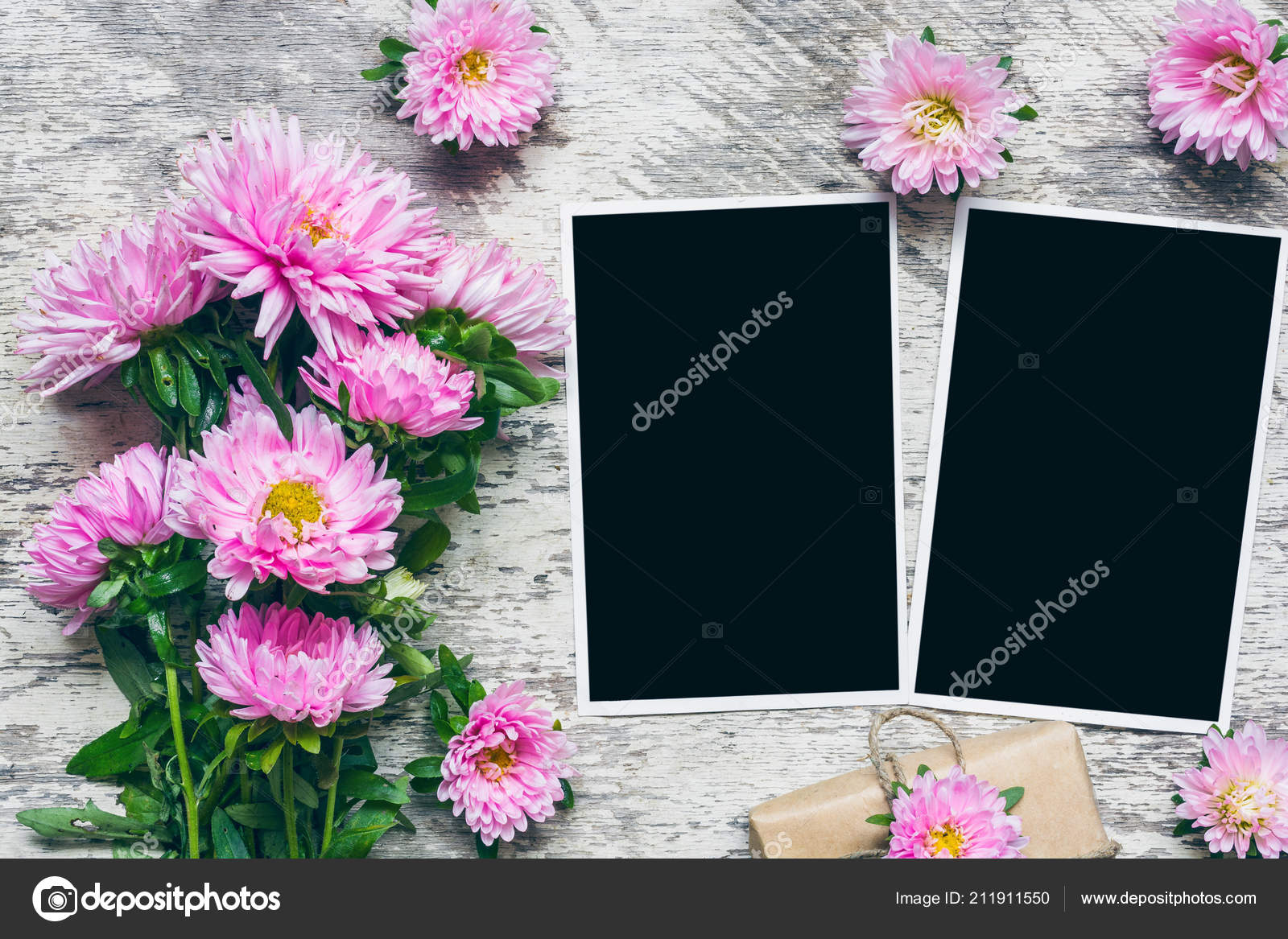 Blank Photo Frames Beautiful Bouquet Pink Aster Flowers Gift Box