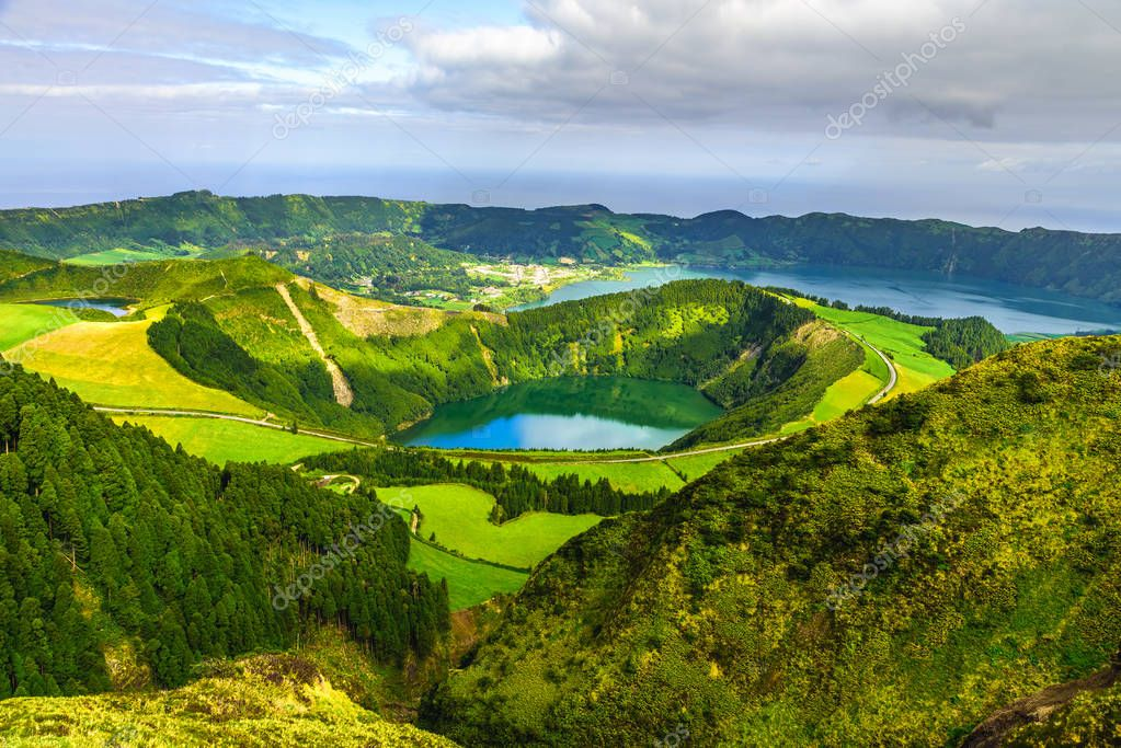 View from Miradouro Boca do Inferno to Sete Citades, Azores, Portugal. travel concept