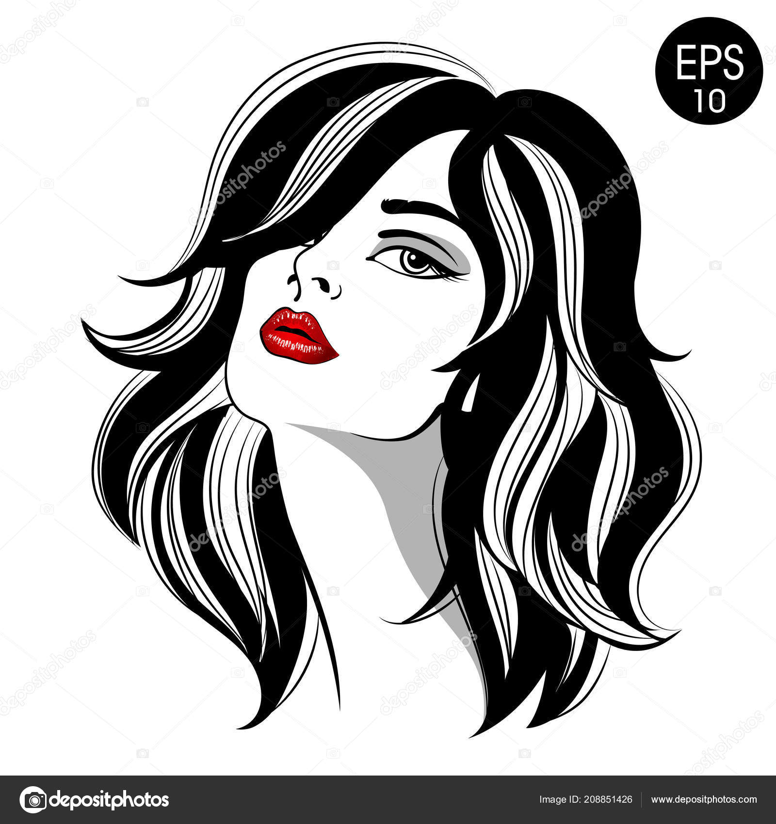 Woman With Red Lips Vector Fashion Portrait Stock Vector