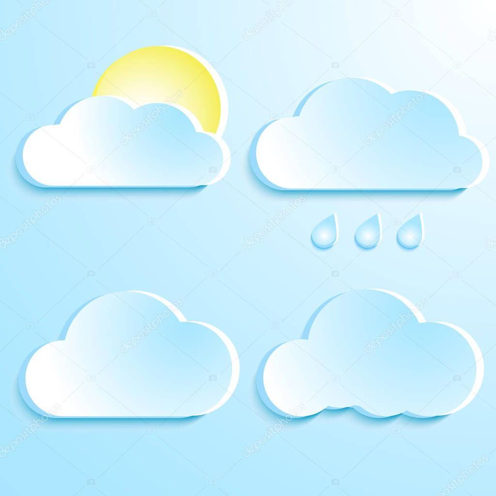 Clouds with shadow. Summer cartoon cloud set, clouds sticker shapes isolated on blue background. Raindrops and sun with clouds. Vector. Eps10.