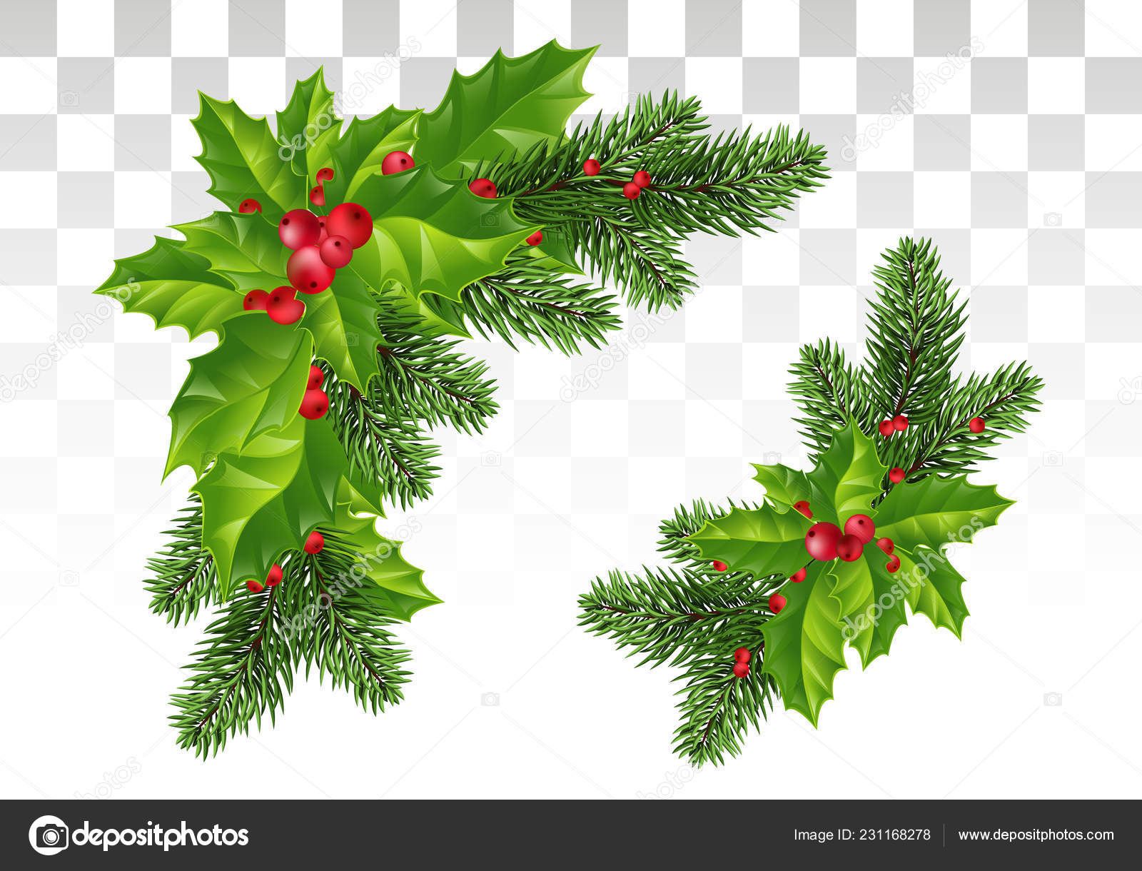 Christmas Decoration Holly Leaf Wreath Red Berries Christmas Tree