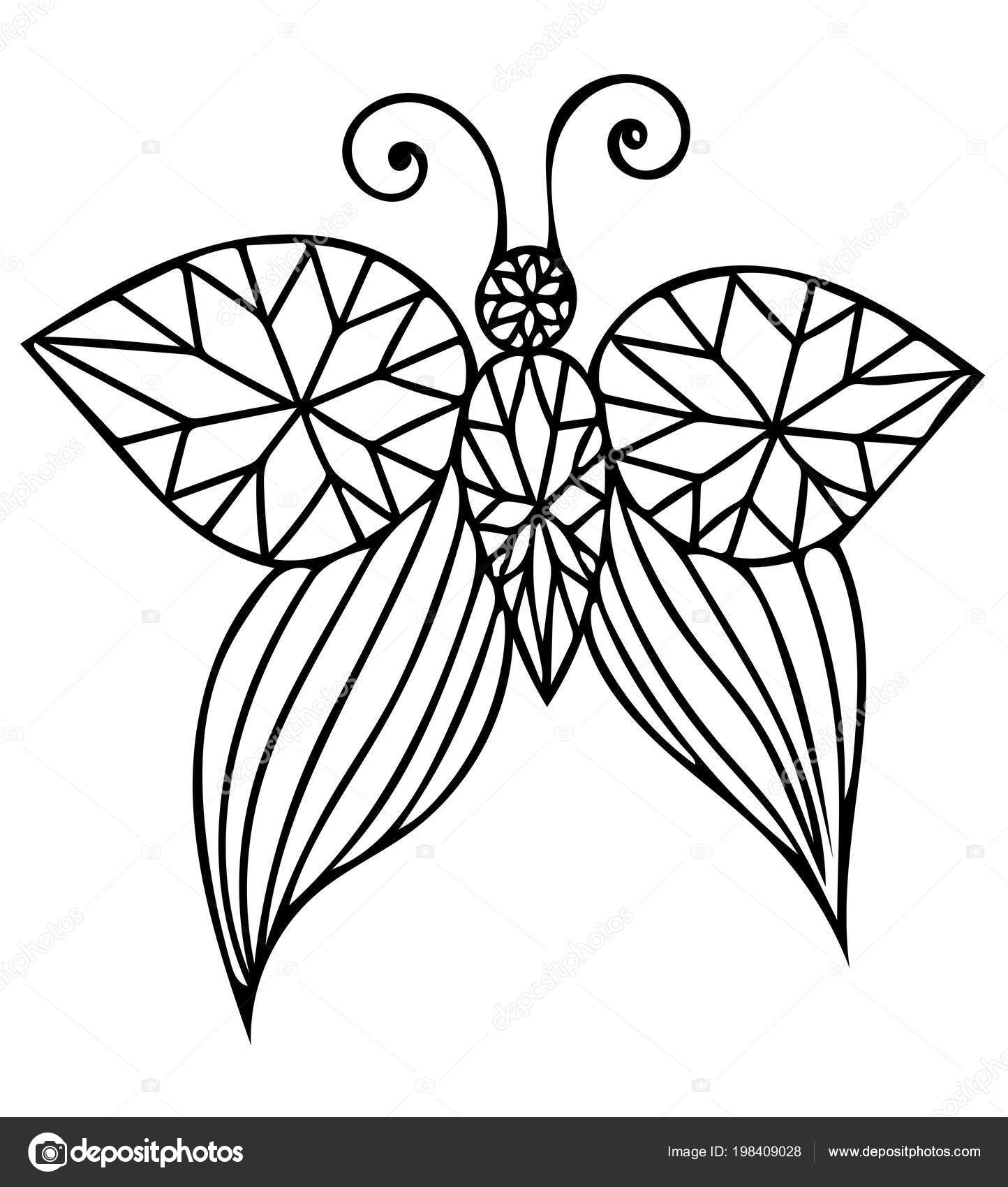 Vector Black Line Butterfly Isolated White Background Tattoo ...