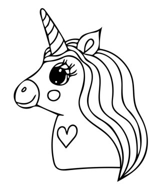 Unicorn black line isolated. Magical cute animal. Vector artwork. Coloring book pages for adults and kids. For wedding invitation card, ticket, branding, boutique logo, label.