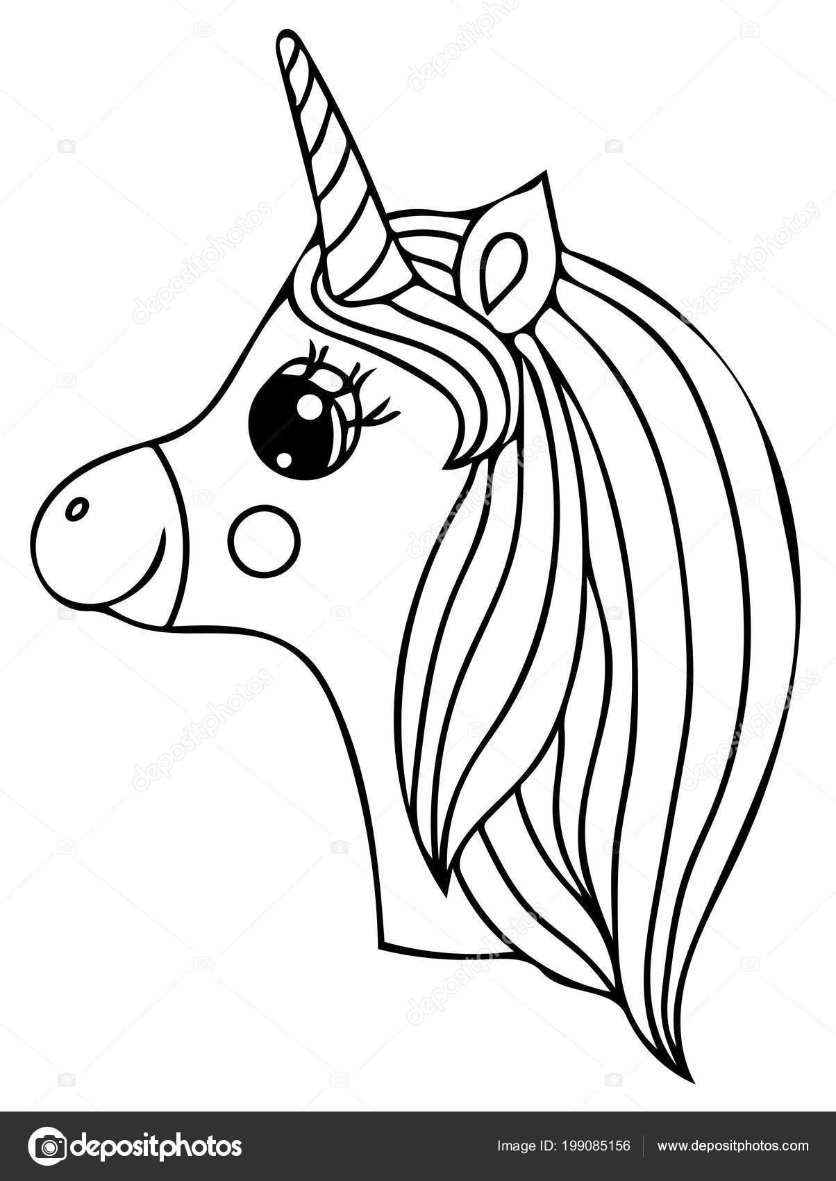 Unicorn Black Line Isolated Magical Cute Animal Vector Artwork