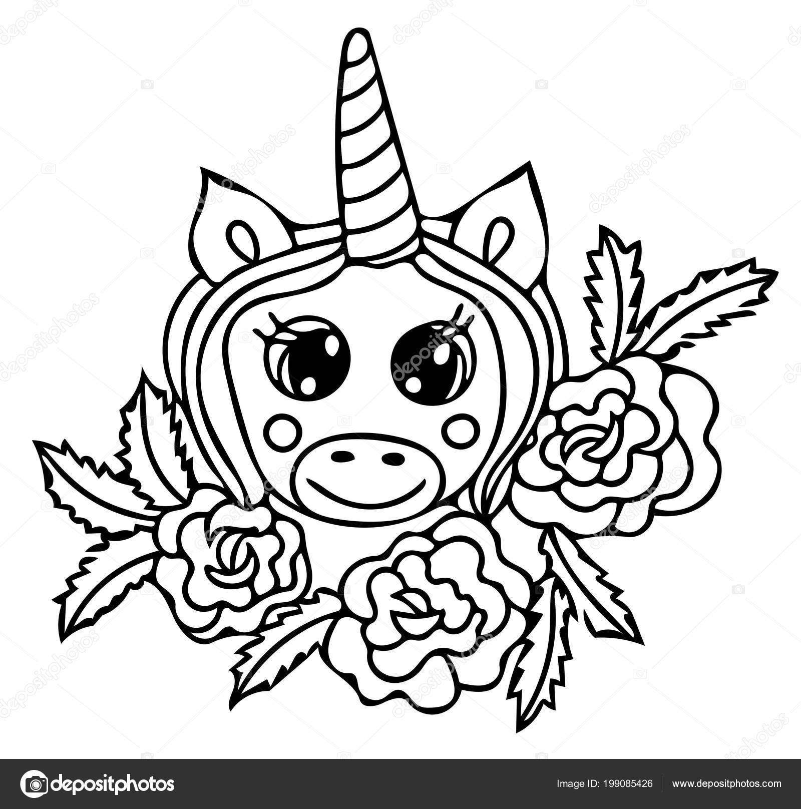 Kleurplaten Unicorn.Unicorn Zwarte Lijn Geisoleerd Magisch Leuk Dier Vectorillustraties