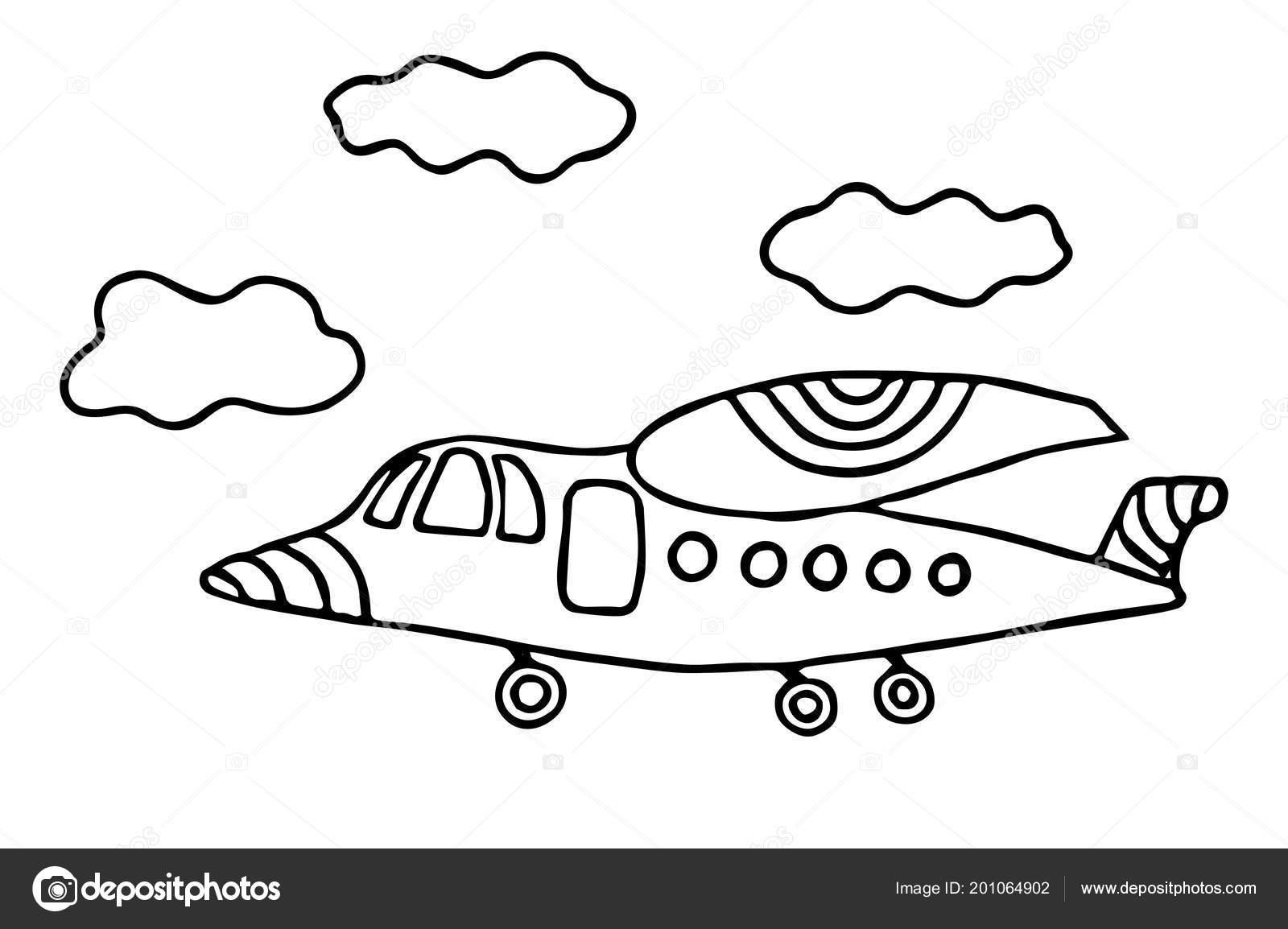 Avión Línea Negro Dibujos Animados Para Colorear Libro Página