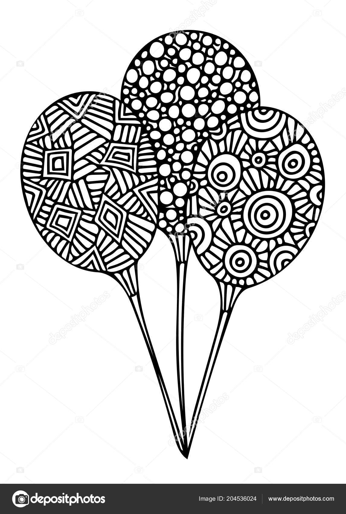Black Line Balloon Coloring Book Page Concept Valentine Day