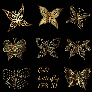 Shiny golden line butterflies on the black background. Butterfly collection in shiny luxury golden colored. Vector illustration