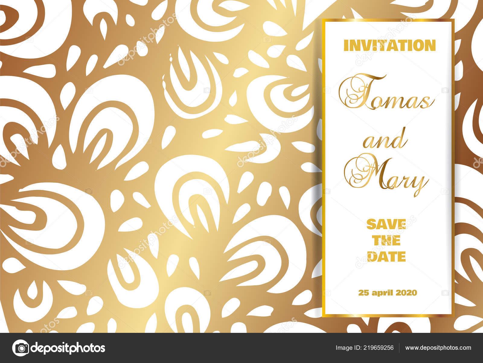 Vintage Luxury Wedding Background Gold Pattern Text Antique