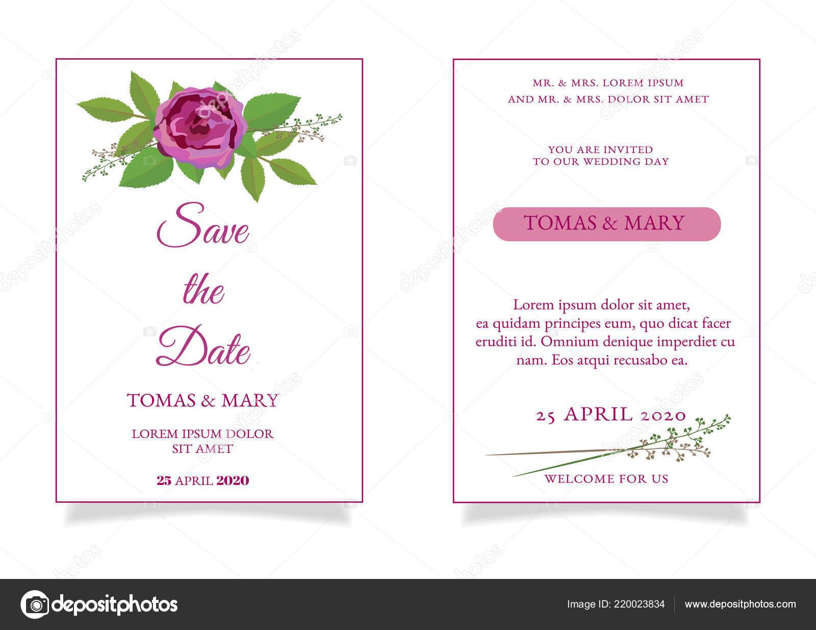 Plantilla Invitación Boda Rústica Con Rosa Hojas