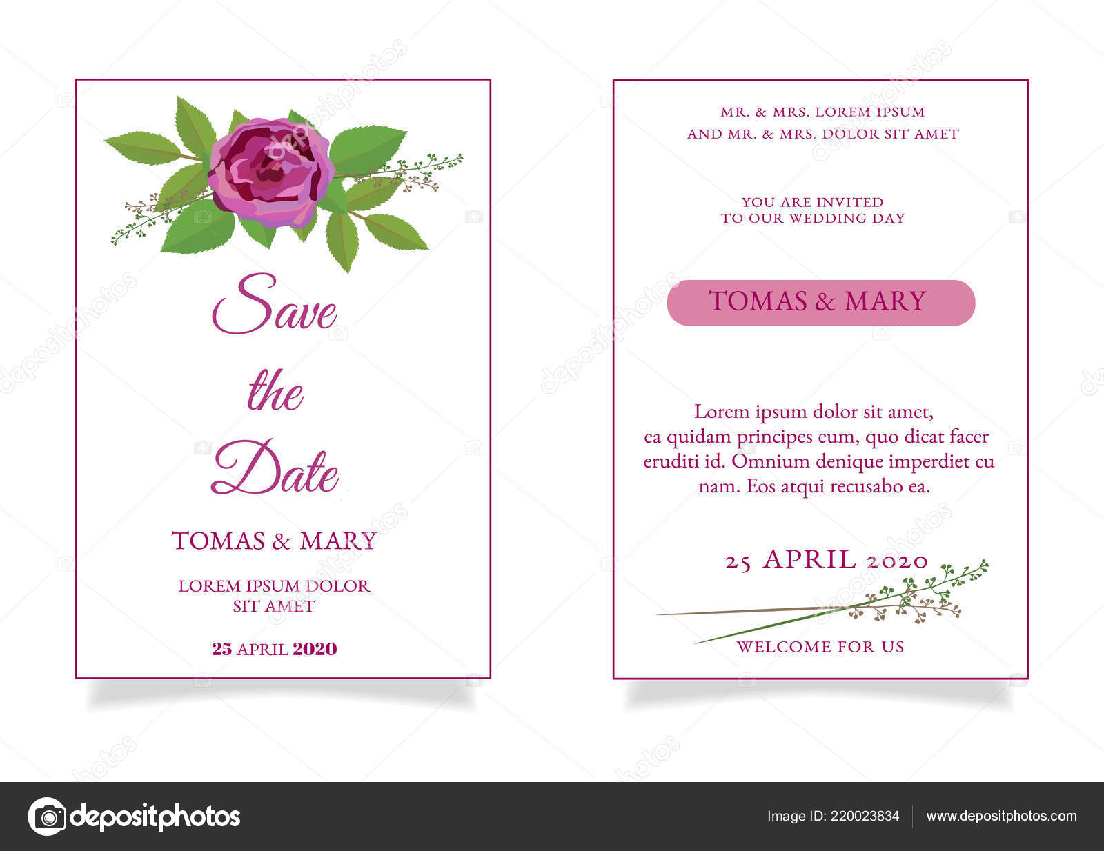 Modele Invitation Mariage Rustique Avec Rose Feuilles