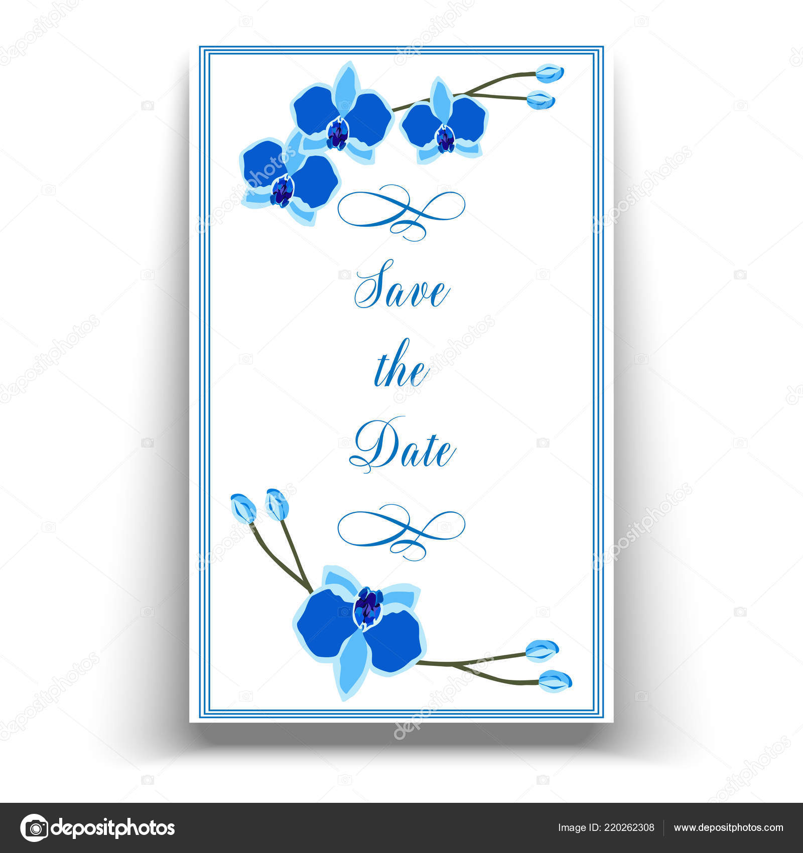 Wedding Marriage Event Invitation Template Blue Orchid