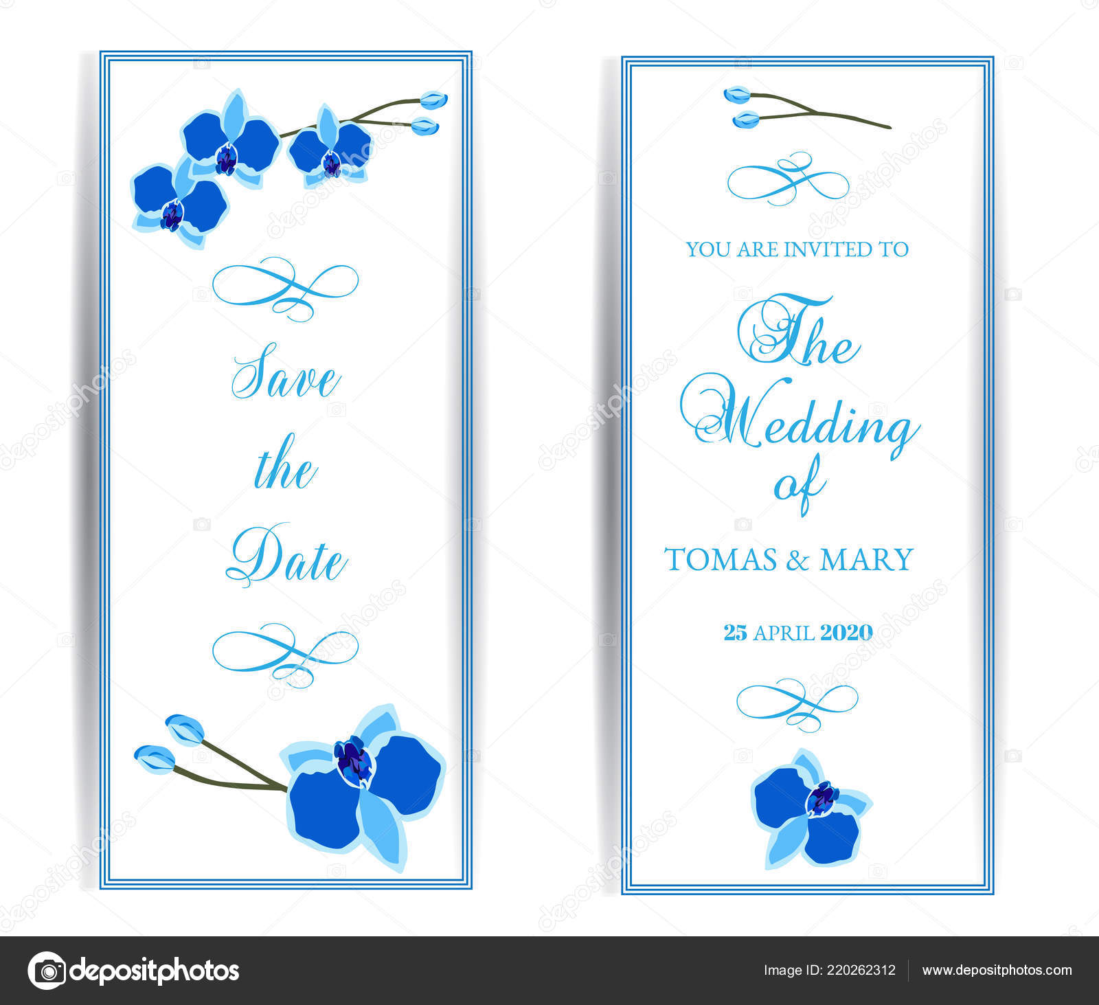 Wedding Marriage Event Invitation Template Set Blue Orchid