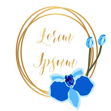 Greeting card template with gold round frame and blue orchid