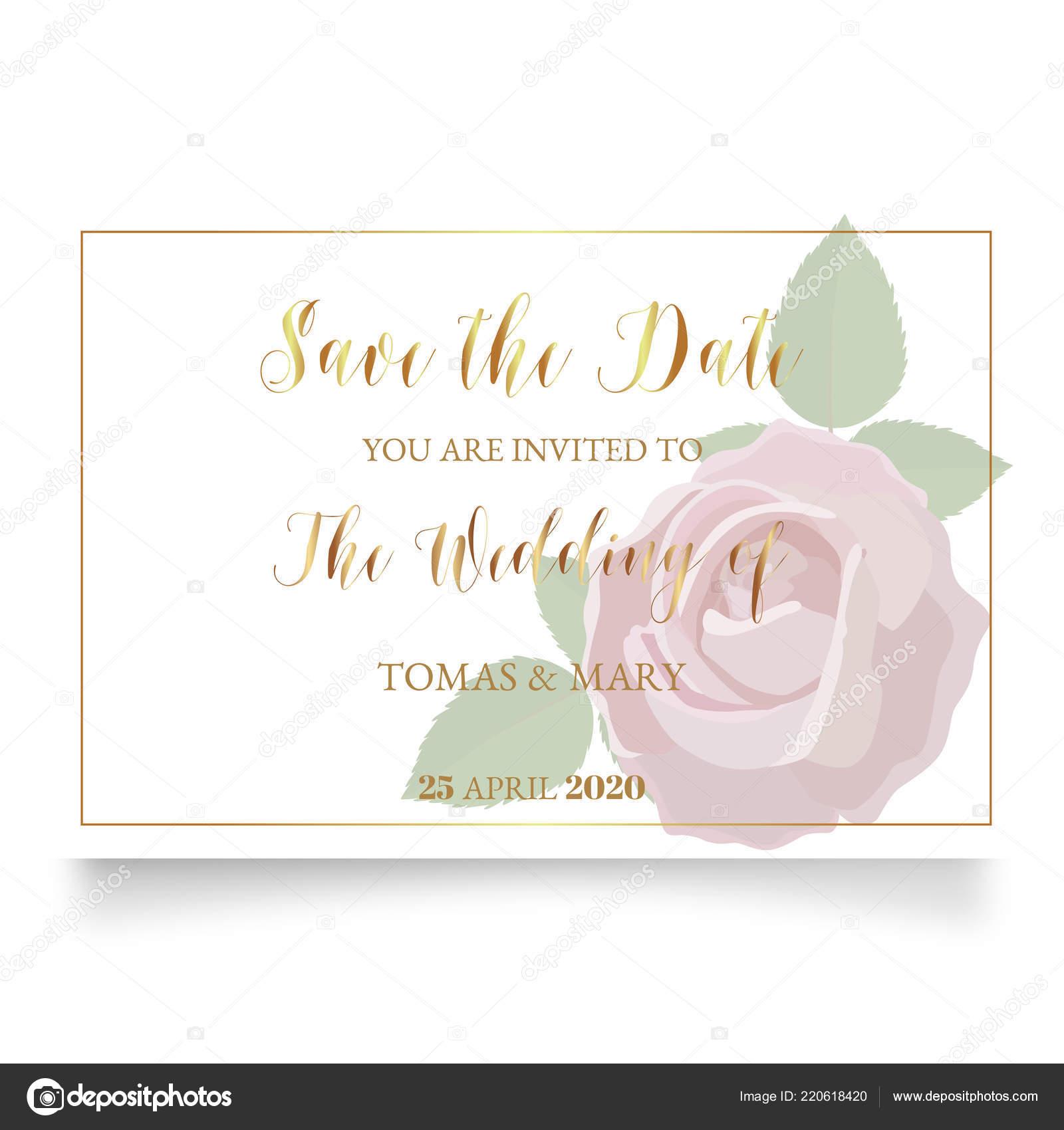 Plantilla Invitación Boda Con Rosa Anillo Hoja Invitaciones