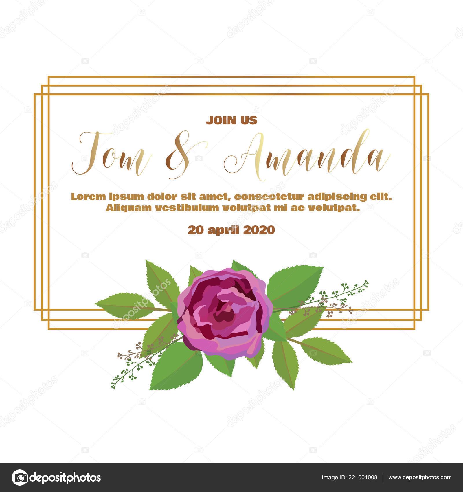 minimalism wedding invitation template rose leaf printable wedding