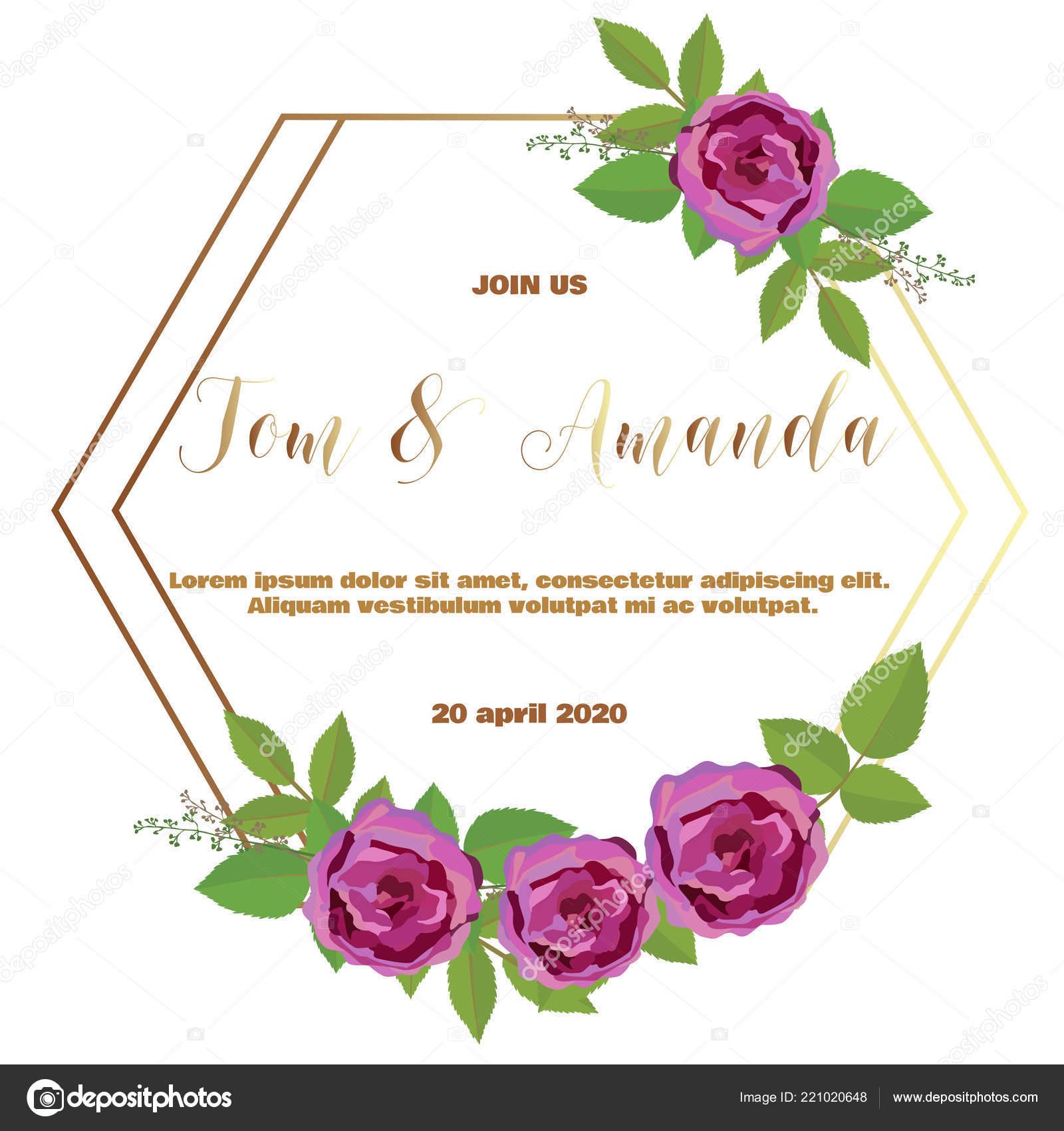 Modelo Convite Casamento Floral Com Rosa Folha Convites