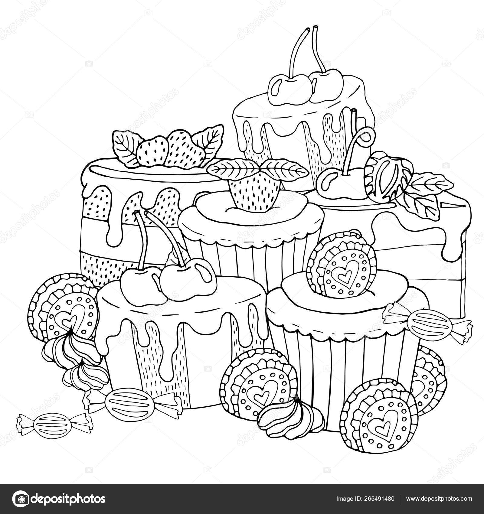 Coloring Page With Cake Cupcake Candy And Other Dessert With B Vector Image By C Ellina200 Mail Ru Vector Stock 265491480