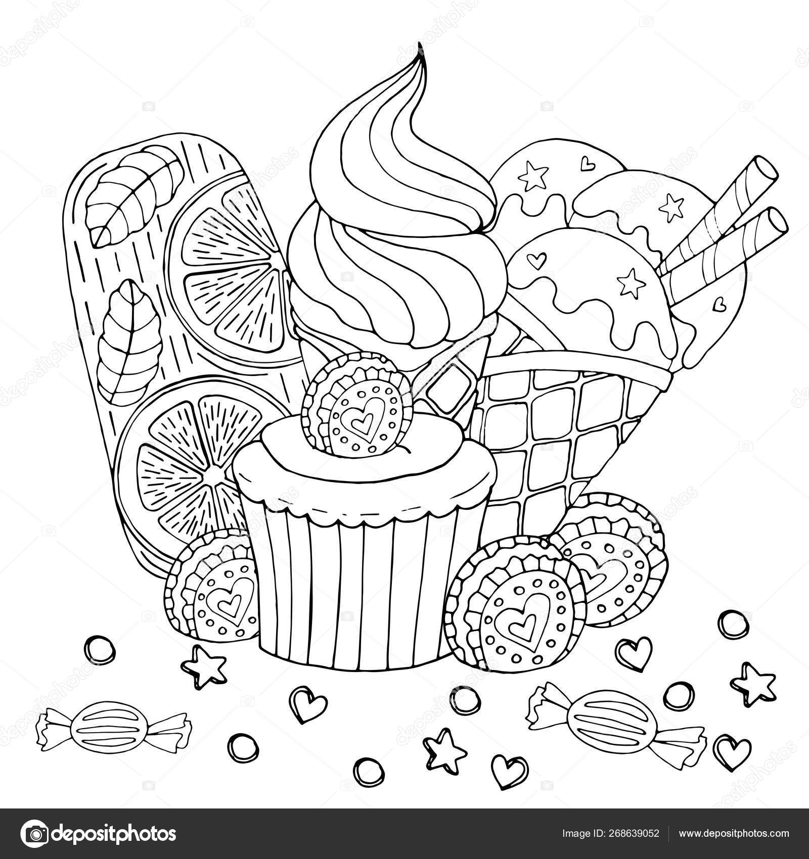 Coloring Pages Sweets Coloring Page With Cake Cupcake