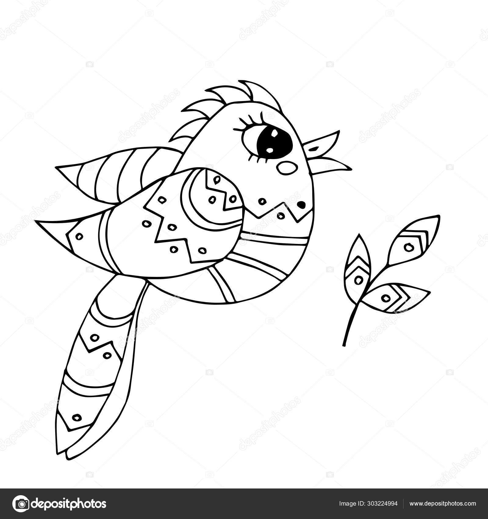 Pájaro De Dibujos Animados Para Colorear Libro O Páginas