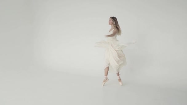 concept of beauty, freshness and youth. ballerina is spinning in a light flying dress on a white background. slow motion