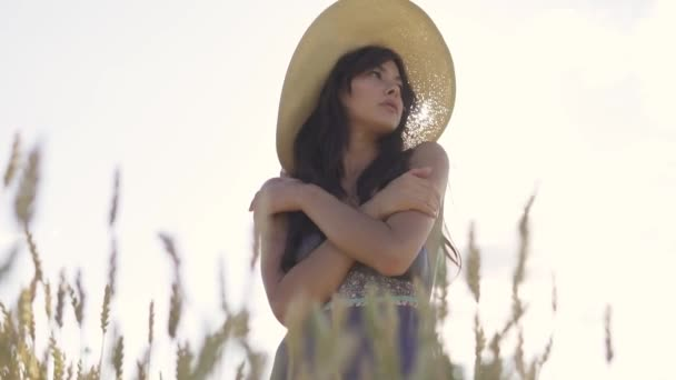 Sensual portrait close-up of a beautiful and charming young girl in a straw hat in the rays of the setting sun. Young woman in a wheat field at sunset