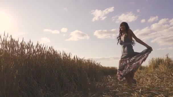 carefree young woman on a meadow. slow motion