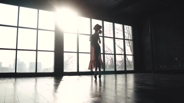silhouette of a graceful ballerina who is spinning on tiptoes in the sun. Ballet dancer in pointe shoes and a long fluttering dress. slow motion