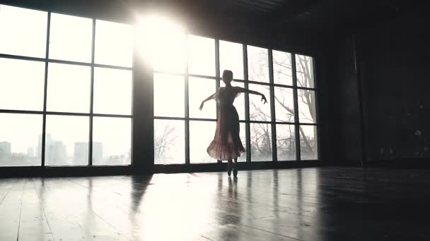 ballet dancer dancing a classical ballet in pointe shoes on the background of a large window. Elegant ballerina in pointe shoes and a long fluttering dress. slow motion
