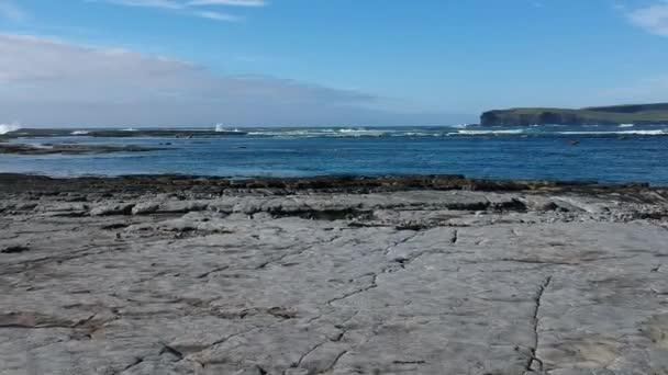 Amazing Kilkee beach in Ireland - drone flight over the rocks