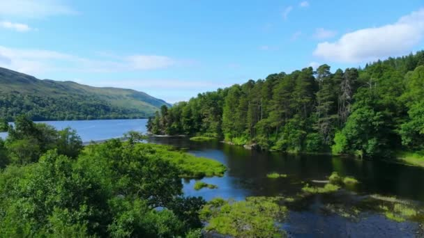 Amazing landscape with creeks and lakes in the Scottish Highlands - romantic aerial view