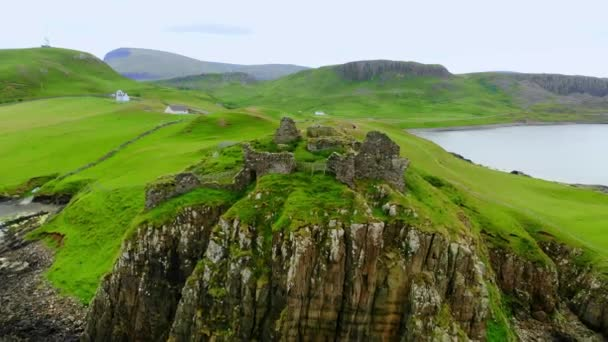 The ruins of Duntulm Castle on the Isle of Skye - aerial drone footage
