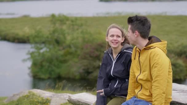 Couple in love enjoys the amazing nature of Ireland