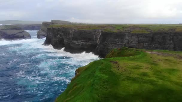 Beautiful flight over the cliffs of Kilkee at the Irish west coast