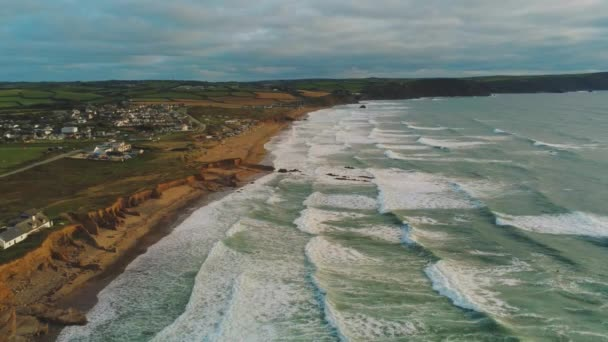 Flight over the rocky coast of Cornwall in England - amazing landscape
