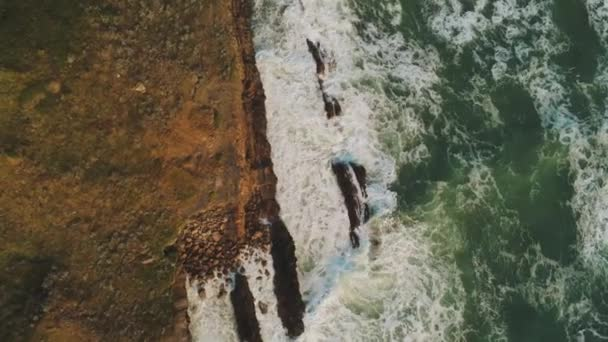 Amazing nature - wild Ocean water - aerial flight along the cliffs and coastline