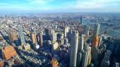 Ampio angolo di vista aerea sopra Manhattan New York