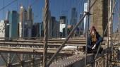 Csodálatos kilátás nyílik a látóhatár, a Brooklyn-híd, New York