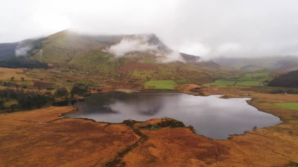 Amazing landscape of Snowdonia National Park in Wales on a misty day
