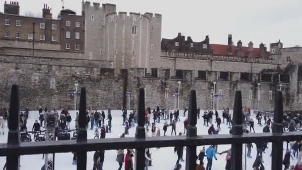 Huge Ice Rink at the Tower of London at Christmas Time - LONDON, ENGLAND - DECEMBER 16, 2018