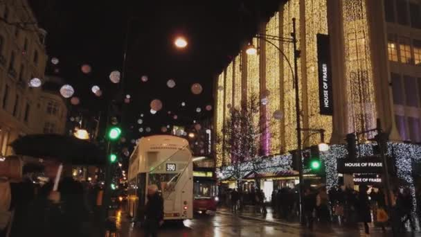 Stores at Oxford Street with beautiful Christmas decoration - LONDON, ENGLAND - DECEMBER 16, 2018