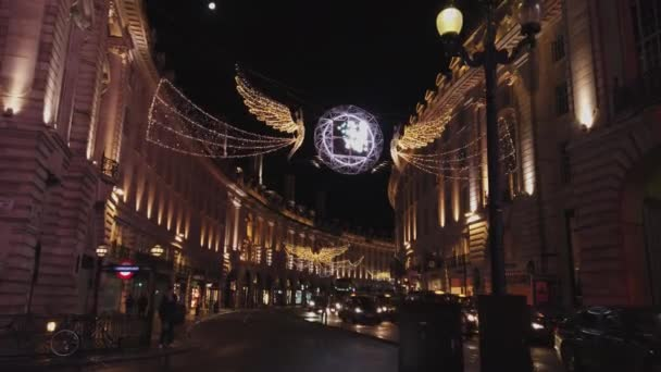 Regent Street London at Christmas time with stunning decoration - LONDON, ENGLAND - DECEMBER 16, 2018