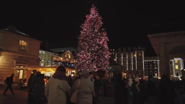 Christmas tree at Covent Garden London - LONDON, ENGLAND - DECEMBER 16, 2018