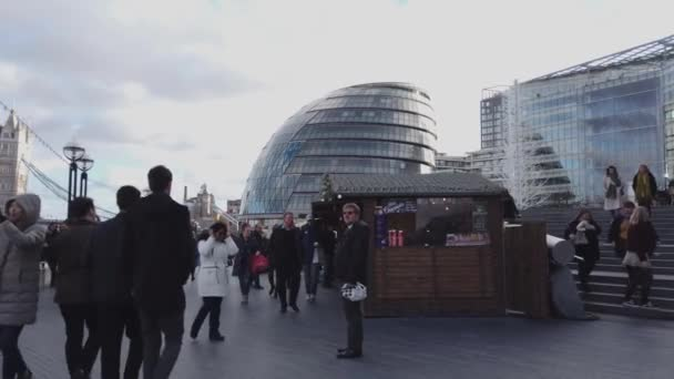 The Queens Walk bank at London City Hall - LONDON, ENGLAND - DECEMBER 16, 2018