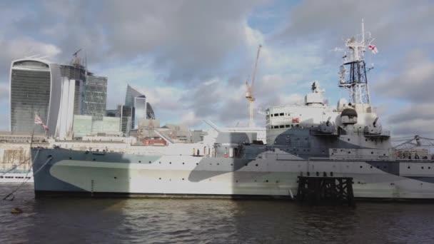 HMS Belfast Battleship in London - LONDON, ENGLAND - DECEMBER 16, 2018